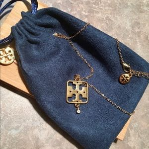 Tory Burch Gold-Tone Square Logo Crystal Necklace